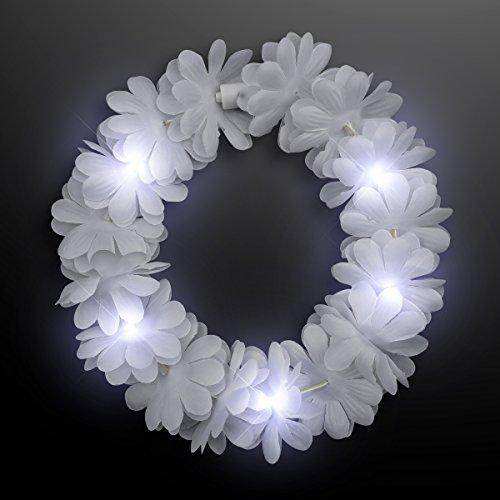 White LED Hawaiian Lei Floral Headband Light Up Flower -