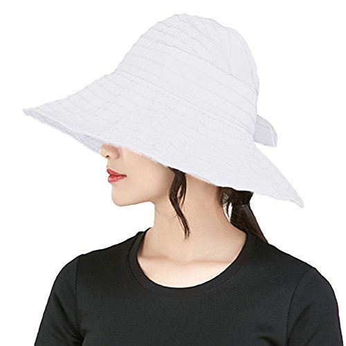 (PT FASHIONS Summer Wide Brim Braided Foldable Sun Hat Beach UPF 50+ Roll Up Cord Packable Floppy Visor Cap Women Kids-Wwhite)