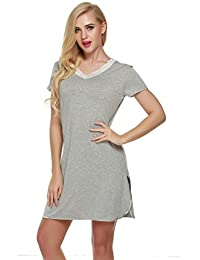 Ekouaer Sleepshirt Womens Nightshirts Viscose Lace Short Sleeve Sleepwear XS-XXL