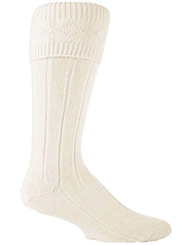 1 Pairs Mens wool Rich wedding ceremonial Scottish Cream Kilt Socks 7-12 us by Sock Snob