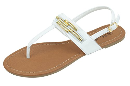 - Shoes 18 Womens Strappy Roman Gladiator Sandals Flats Thongs Shoes (8, White 2226)