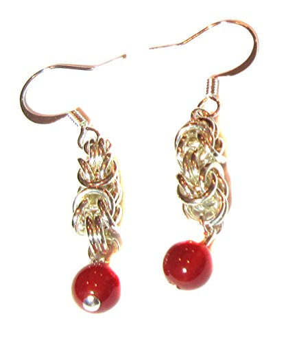 Drop Earrings Exquisite Ancient Byzantine Link With Carnelian .925 Sterling Silver Fish Hook Ear wires 1.5 Inch Drop