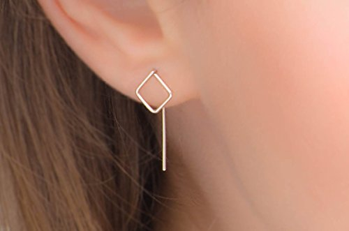 Square Ear Jackets Threader Earrings in Sterling Silver or 14k Gold Filled Minimalist Ear Threads Pull Through Studs - Sterling Silver Threader Ring