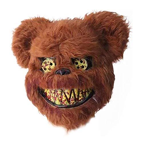 Teddy Bear Halloween Mask (Evil Halloween Teddy Bear Mask Props Decorations Scary Scary Headgear-Environmentally-Friendly PU Foam for Christmas, Costume Parties, Carnival,)