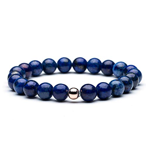 8Mm Natural Stone Bead Strand Bracelets Bangles for Men Women Male Female Couple Bracelets Jewelry Accessories Braclet Blue 18cm