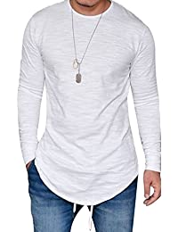 Mens Long Sleeve Hipster Hip Hop Basic Henley T Shirt for Men
