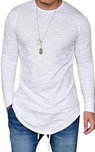 (JOKHOO Mens Long Sleeve Hipster Hip Hop Basic Curved Hem T Shirt White X-Large )