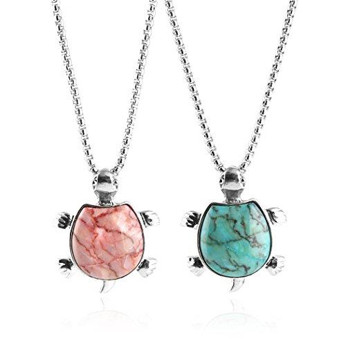 HZMAN 2pcs Gemstone Necklace Crystal Healing Couple Pendant Necklaces Set (Turtle) by HZMAN