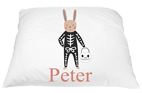 Personalized Skeleton Bunny Costume to Help Fight Bad Dreams Pillow Case for Kids, Halloween Home Decor Kids, Custom Pillow case for All Youth, Friendly Skeleton Pillow Case, Microfiber 20x30 in ()