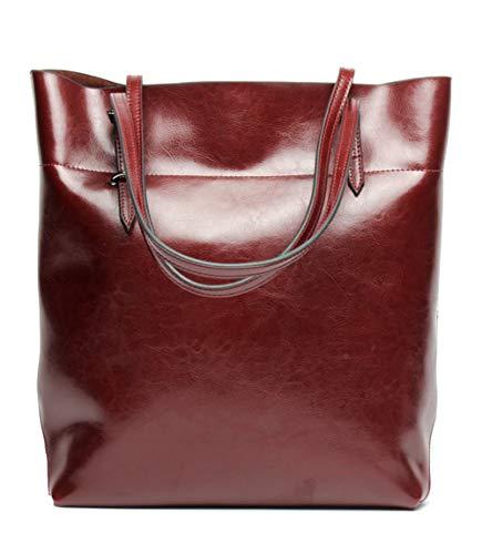 Covelin Women's Handbag Genuine Leather Tote Shoulder Bags Soft Hot Wine red]()