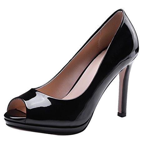 Partie Vernis Elegantes Pour Talon Peep UH a Bout Noir Haut Escarpins Femmes Aiguille Toe Pointu wA7qO84