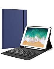 OMOTON Bluetooth Keyboard Case for New iPad 9.7(2018/2017 Released), iPad Pro 9.7, iPad Air/Air 2, Ultra-thin Keyboard Case with Built-in Stand and Pencil Holder, Lightweight, Blue
