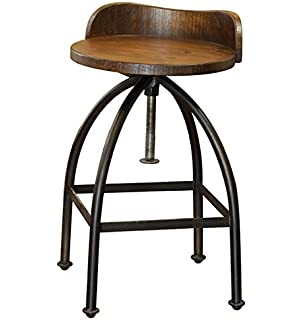 Merveilleux Distressed Industrial Iron And Solid Wood Bar Stool With Back And Adjustable  Height