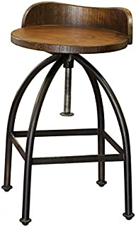 Distressed Industrial Iron and Solid Wood Bar Stool with Back and Adjustable Height  sc 1 st  Amazon.com & Amazon.com: Missoula Industrial Loft Antique Wood Iron Swivel Bar ... islam-shia.org