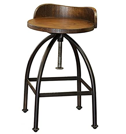 Distressed Industrial Iron and Solid Wood Bar Stool with Back and Adjustable Height  sc 1 st  Amazon.com & Amazon.com: Distressed Industrial Iron and Solid Wood Bar Stool ... islam-shia.org