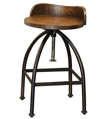 Distressed Industrial Iron and Solid Wood Bar Stool with Back and Adjustable Height