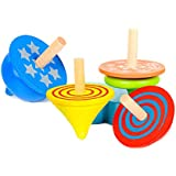 4 Pcs Colorful Funny Traditional Educational Wooden Gyro Spinning Top Toys for Kids Children
