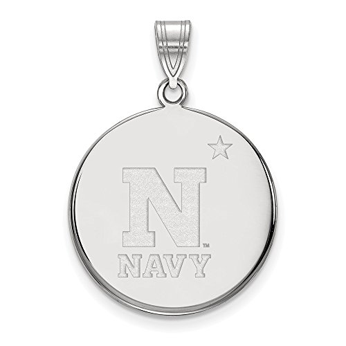 Sterling Silver Logo Art Navy Large Disc Pendant