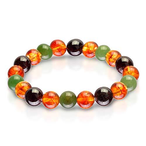 (Triple Stone Ultimate Money Bracelet - Motivational - Financial Success - Citrine- Red Garnet - Green Aventurine - Inspirational Bracelets -Elastic Natural Stone Money Bracelet (10mm))