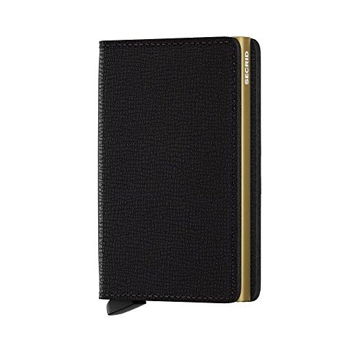 enuine Black Leather RFID Safe Card Case for Max 12 Cards (Crisple Black Gold) ()
