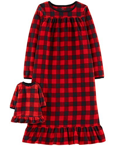 Carter's Toddler Girls 2-Pk. Buffalo-Check Nightgown & Doll Nightgown Set,Red/Black,2T -