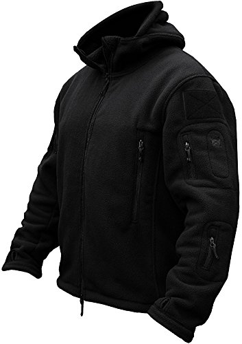 TACVASEN Men's Tactical Fleece Jacket (Large,Black)