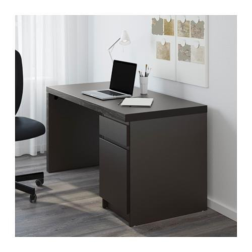 offer cheap ikea malm home office desk black brown with