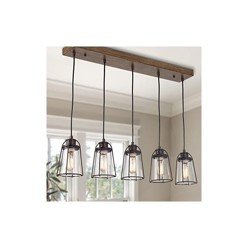 Farmhouse Chandelier, Industrial Pendant Lighting for Kitchen Island, 5-Light New Modern Kitchen Light Fixture