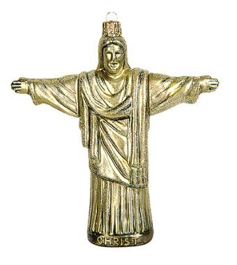 Statue of Christ Redeemer Mount Corcovado Rio de Janeiro Brazil Polish Glass Christmas Ornament Travel Souvenir Decoration (Redeemer Statue Christ Rio)