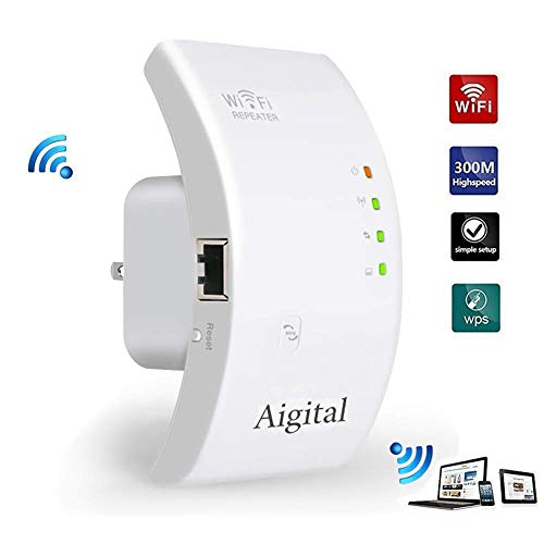 Aigital WiFi Range Extender,300Mbps WiFi Extender Mini WiFi Repeater Wireless Signal Internet Booster with Ethernet Port WiFi Range Amplifier Easy Setup Compact Wall Plug Design