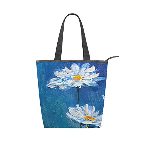 Canvas Flower MyDaily Shoulder Painting Daisy Tote Bag Handbag Womens Oil vCCw5qXa