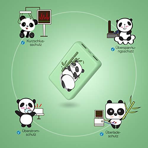 IEsafy Powerbank Panda 10000mAh Externer Akku tragbares Ladegerät 2 USB Outputs für Handy, iPhone iPad Samsung Huawei und mehr