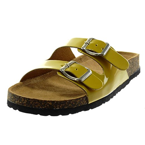 Angkorly Women's Fashion Shoes Mules Sandals - Slip-on - Buckle - Patent - Cork Flat Heel 2.5 cm Mustard gvkTjogv7z