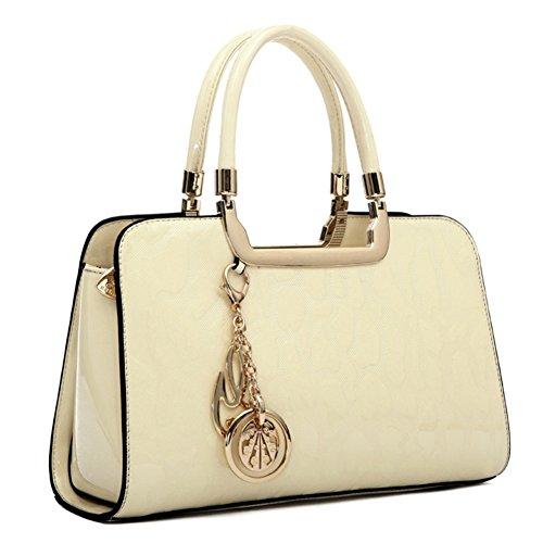 HUOBAO Women's Patent Leather Handbags Designer Totes Purses Satchels Handbag Ladies Shoulder Bag Embossed Top Handle Bags (Rice white) -