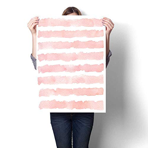 (Anshesix Canvas Wall Art Watercolor Background with Hand Painted Stripes Frameless Canvas Texture decoration32 x48)