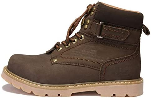 Fangfaner Botas de cuero para hombre, transpirables, estilo retro, tendencia Martin botas para hombre, color negro, par de zapatos de dedo gordo al aire libre marrón oscuro 37