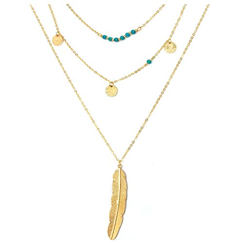 Suyi Exquisite Sequins Multilayer Chain Turquoise Beads Necklace with Feather Pendent Gold