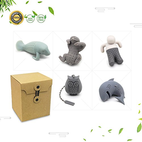 BPA-Free Silicone Animal Funny Tea Infuser for Loose Leaf Tea Strainer,Set of 5 Tea Strainers Handle Stainless Packed in Box for Travel Mug Bottle by Free Walker (Image #6)