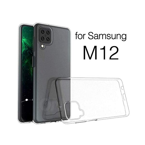 Amazon Brand - Solimo Mobile Cover for Samsung Galaxy M12 (Soft & Shockproof Back Case with inbuilt Cushioned Edges… 2021 August Compatible with Samsung Galaxy M12 Protects phone from scratches, falls, fingerprints and sweat Raised upper lip build design to help protect the screen against fall on a flat surface