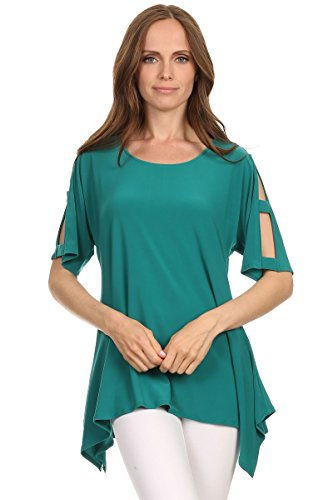 Love My Seamless Womens Asymmetrical 3/4 Sleeve Top With Cut Outs