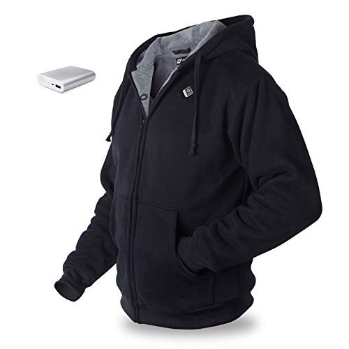 Venture Heat Heated Hoodie with Battery 12 Hour - The Transit Polar Fleece, Unisex (X-Large, Black)