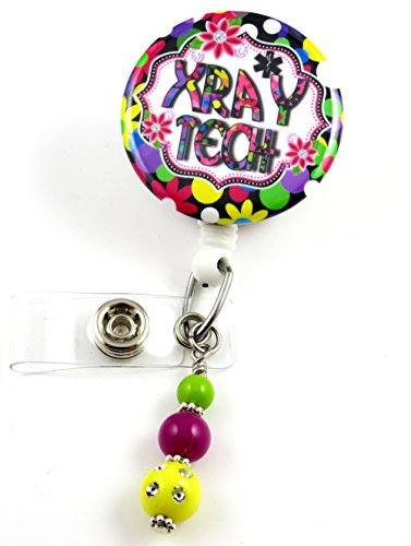 Badge X-ray (Xray Tech Flowery Mylar - Nurse Badge Reel - Retractable ID Badge Holder - Nurse Badge - Badge Clip - Badge Reels - Pediatric - RN - Name Badge Holder)