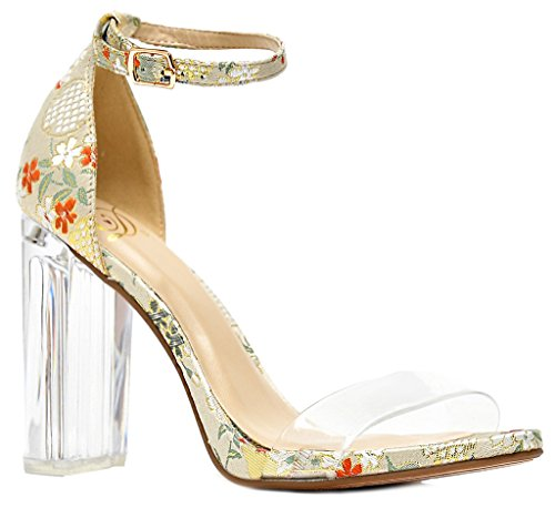Clear Crystal Strap - LUSTHAVE Women's Luna Transparent Strap Embroidered Clear Crystal Chunky Block High Heel Sandals by Beige Ginza 8