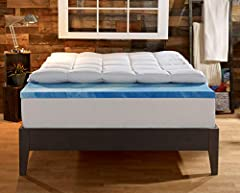Does the idea of sleeping on a puffy cloud sound heavenly to you? This two-layer mattress topper adds 2 inches of fluffy fiber-fill in a soft quilted cover to 2 inches of cooling gel memory foam, for unbeatable comfort combined with gentle, p...