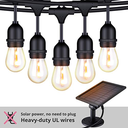 Foxlux Solar String Lights - 48FT LED Outdoor String Light - Shatterproof, Waterproof Pergola Lights - 15 Hanging Sockets, Light Sensor, S14 Edison Bulbs - Ambience for Patio, Backyard, Garden, Bistro (Outdoor Light Strings Solar)