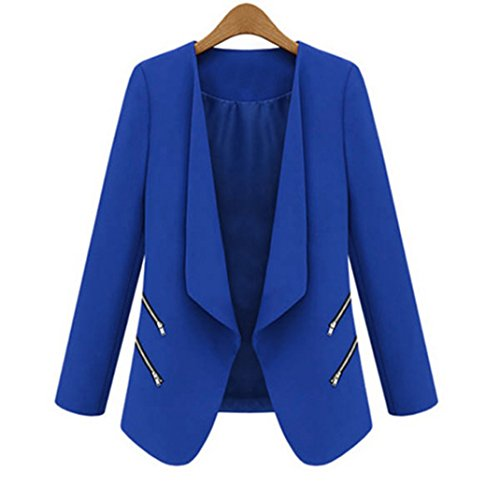 Women OL Long Sleeve Slim Lapel Blazer Suits Jackets Casual Open Coats Blazers Blue M