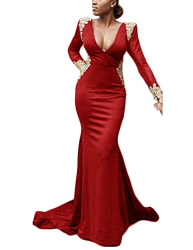 (TTYbridal Sexy V-Neck Prom Dress Long Sleeve Mermaid Evening Formal Dresses with Applique P13 Red 26)