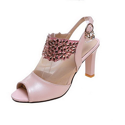 AmoonyFashion Womens Soft Material Buckle Open Toe Kitten Heels Solid Sandals Pink QEGH0Db