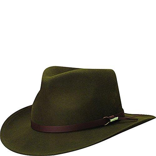 (Woolrich Men's Crushed Felt Outback Hat, Olive Large)