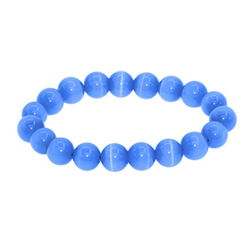 7th Element Round Cat's Eye Bead Beaded Balance Bracelet Stretch Handmade Bangle (10mm 7inch ,Blue)
